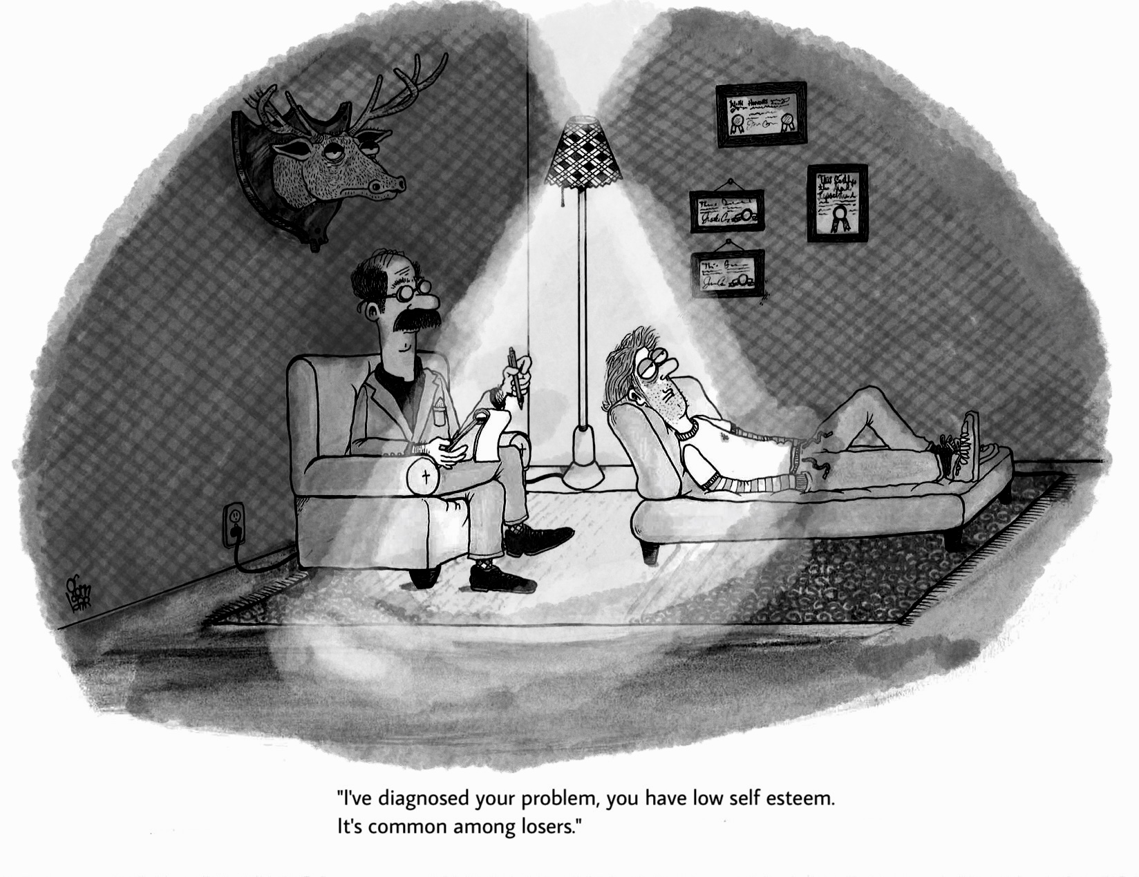"AARON GOMBAR Rejected NEW YORKER Cartoon: ""I've diagnosed your problem, you have low self esteem. It's common among losers."""