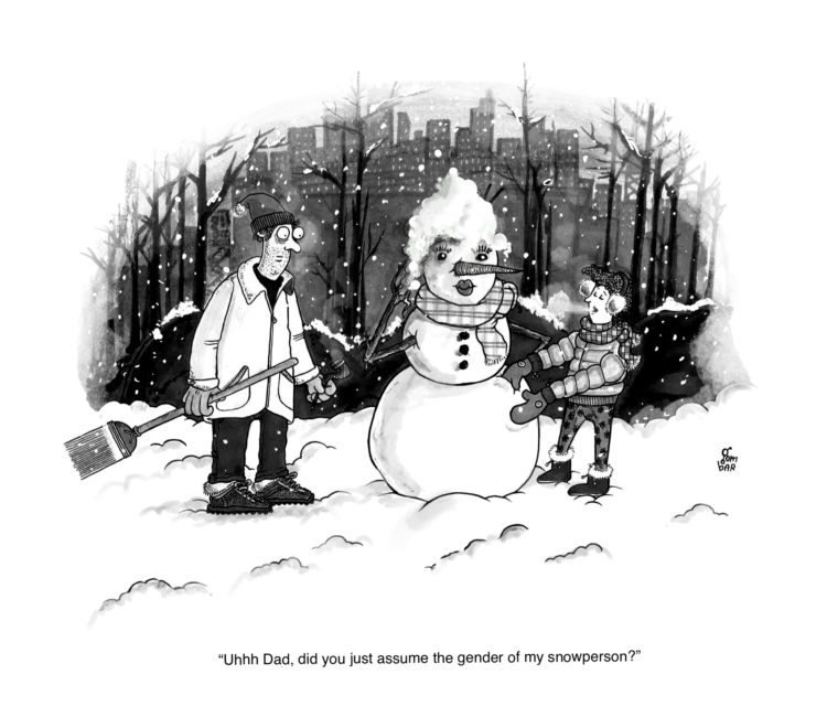 AARON GOMBAR Rejected NEW YORKER cartoons... Non-Binary Snowpersons.